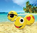 Kovot Large Emoji Beach Balls Set of 3 - Includes (3) 24' Emoji Style Beach Balls and Foot Pump