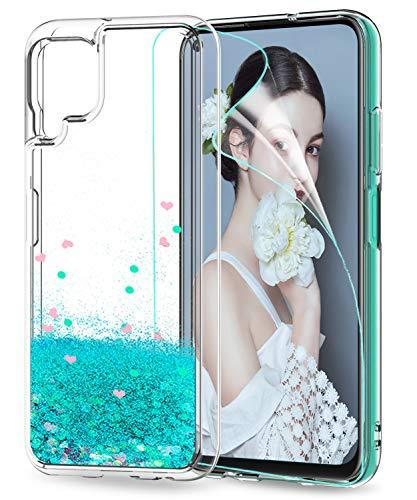 LeYi für Huawei P40 Lite Hülle Glitzer Handyhülle mit HD Folie Schutzfolie,Cover TPU Bumper Silikon Clear Schutzhülle für Hülle Huawei P40 Lite Handy Hüllen ZX Türkis