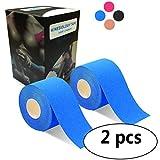 2巻入 テーピングテープ キネシオ テープ 筋肉・関節をサポート 伸縮性強い 汗に強い パフォーマンスを高める 5cm x 5m (靑い)