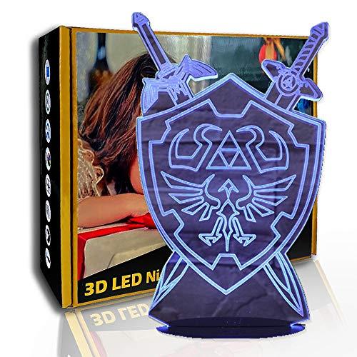 KangYD Schild Schwert Zeichen 3D Nachtlicht, LED Illusionslampe, Dekor Lampe, D - Remote Crack White (7 Farbe), Bunte Lichter, Valentinstag Geschenk, Optische Täuschungslampe, Geschenk für Kind