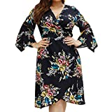 ReooLy Fashion Womens Casual Plus Size V-Neck Floral Print Flare Sleeve Bandage Dress(Negro,XXXXXL)