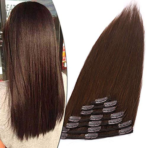 Clip in Extensions Echthaar Haarverlängerung Haarteil 8 Teile hitzebeständig glatt Mittelbraun#4 33 cm (80 g)