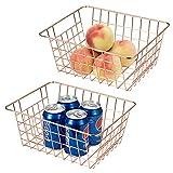 Lonian Cestas de almacenamiento de alambre de metal, paquete de 2 cestas organizadoras de alimentos de alambre para almacenamiento de bebidas de frutas en gabinetes de cocina, despensa, congelador