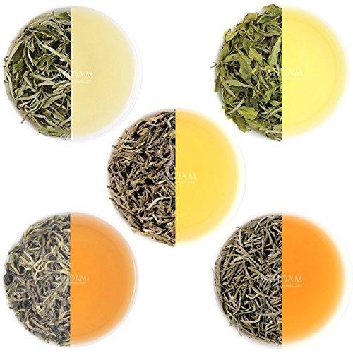 VAHDAM, Weißer Tee Loose Leaf Sampler | 5 TEES - Himalaya Weißer Tee, Silbernadel Weißer Tee, Blauer Bergweißer Tee, Perle Darjeeling Weiße Teeblätter - GESUNDHEITLICHER TEE DER WELT (25 Tassen, 50g)