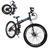 hosote 26 Inch Folding Mountain Bike, Full Suspension 21 Speed High-Tensile Carbon Steel Frame MTB with Dual Disc Brake for Men and Women