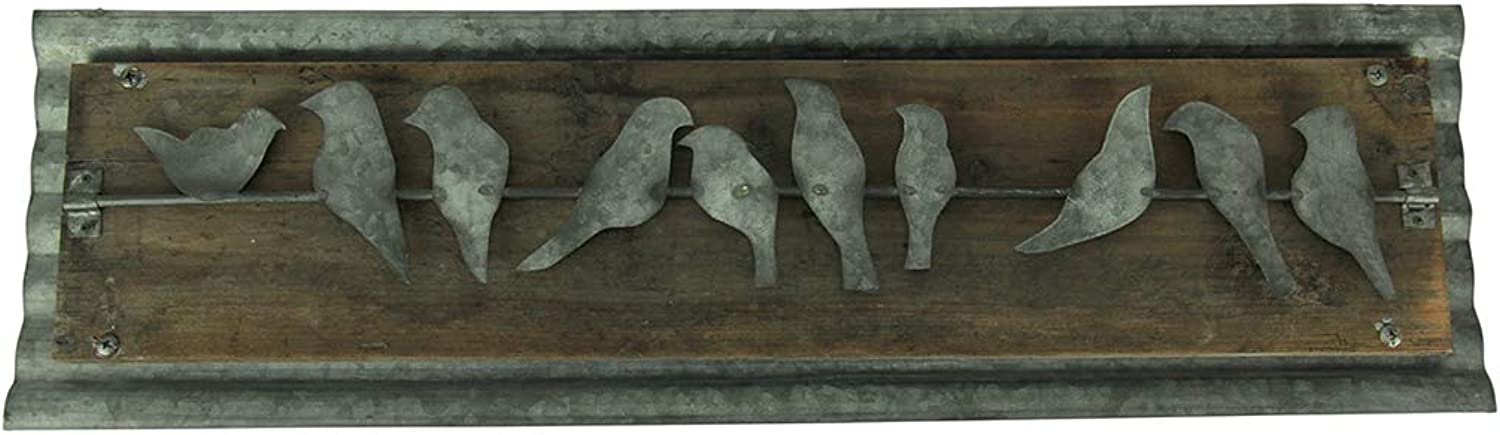 Things2Die4 Rustic Birds On a Wire Wood and Metal Wall Hanging