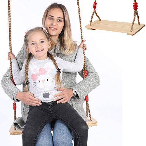 NUB Wooden Hanging Swing Seat Wooden Tree Swing Seat Wooden Swing Chair with Adjustable Hemp Rope for Both Adults And Kids