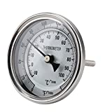 FERRODAY Stainless Steel Thermometer Dial Thermometer 1/2 NPT Homebrew Kettle Thermometer with Lock...