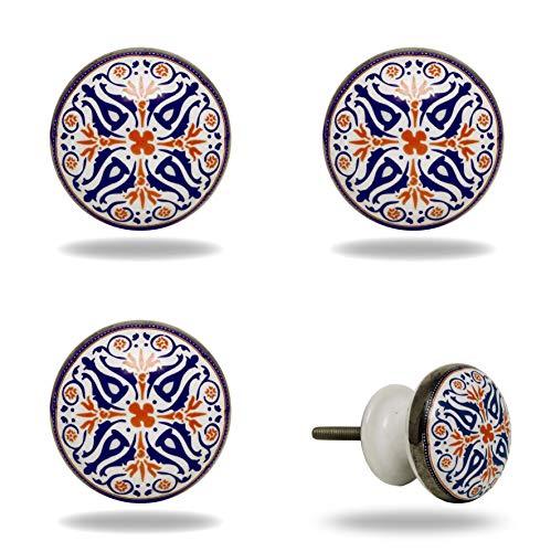 4 x Möbelgriffe Marokko Vintage bunt aus Keramik für Schrank und Schublade