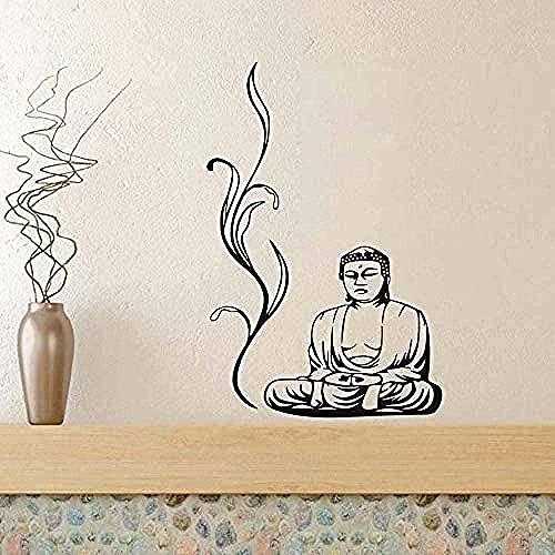 Buda pegatinas de pared yoga poses meditación relajación flor tatuajes de pared diy extraíble decoración del hogar pegatinas de vinilo dormitorio 88X58Cm