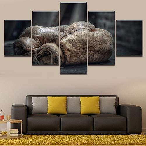 Sandalenka Leinwand Wandkunst Bilder HD gedruckt Modular Painting 5 Stück Modernes Wohnzimmer Dekor Altmodisches Boxhandschuh Poster C