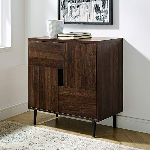 Walker Edison Modern Color Pop Buffet Accent Entryway Bar Cabinet Storage Entry Table Living Room Dining Room, 30 Inch, Dark Walnut and Navy Interior