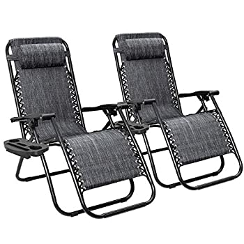 Flamaker Patio Zero Gravity Chair Outdoor Folding Lounge Chair Recliners Adjustable Lawn Lounge Chair with Pillow for Poolside Yard and Camping  Grey