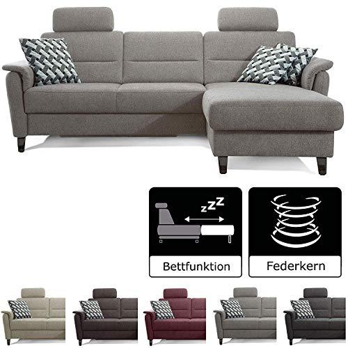 Cavadore Schlafsofa Palera mit Federkern / L-Form Sofa mit Bettfunktion / 244 x 89 x 164 / Stoff Hellgrau