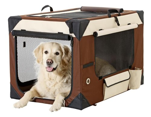 Karlie Smart Top De Luxe Hunde Transportbox, 76 x 51 x 48 cm, beige/braun