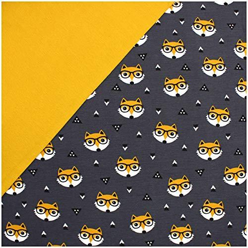 Stoffpaket 0,5m Jersey + 0,5m Bündchenstoff zum Nähen von Kinderkleidung Kinderstoff Jerseystoff (Fuchs mit Brille + Senf (Set04))
