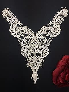 Lace Applique Neckpiece Venise Yoke Fancy Curves Embroidery Motif Patch, 9