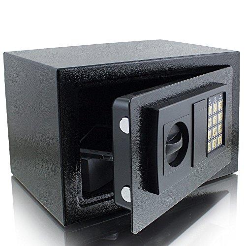 Elektronischer Möbeltresor Minitresor Wandtresor Wandsafe Schranktresor Geldsafe Schwarz Maße(B/H/T): 310 mm x 200 mm x 220 mm - Türstärke: 3 mm