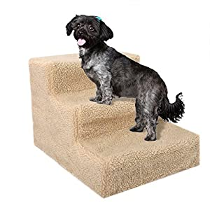 JAXPETY 3 Steps Ramp Pet Stairs for Indoor Small Animals Dogs Cat Puppies up to 55 lbs, Portable Ladder with Cover (Beige)