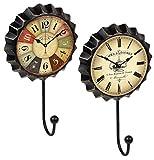 Lashuma - Juego de 2 Ganchos para Colgar Ropa, 19 x 11 cm, Ganchos para Toalla de Cocina, Vintage, Cartel de Chapa Grande, Ganchos de Pared de Metal