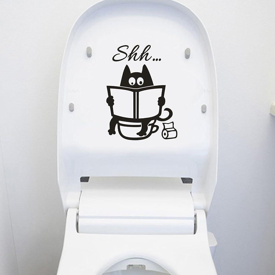 ブルーム天増強するTovadoo ウォールステッカー Cute Cat Shh 猫 おもしろい トイレ 部屋 レストラン リビング ファッション おしゃれ インテリア リフォーム 模様替え