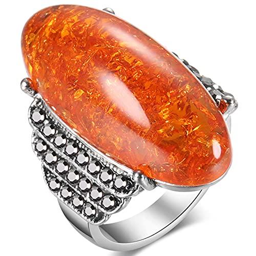 Ezzyso Anillo de ámbar de Cera de Abejas, Americana Retro Palacio de Lujo de Lujo de la Moda de la aleación de Diamantes (2 Piezas),Naranja,10
