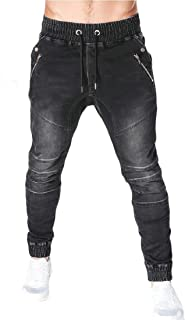 YYG Men's Washed Casual Active Elastic Waist Multi Pockets Drawstring Jogger Jeans Pants
