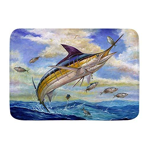 VAMIX Badematten Blauer Marlin Billfish Kleiner Thunfisch Bonito Fisch Terry Fox,45x75cm Badematte rutschfest Waschbar Badezimmer Teppich Weiche Hochflor Badvorleger aus