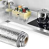 TANCUDER Pegatinas de Pared a Prueba de Aceite Aluminio Papel Pintado Cocina Autoadhesiva Aluminio Pegatinas 40cm x 5m Papel Tapiz de Aluminio Impermeable para Cocina Pared Alacena Baño