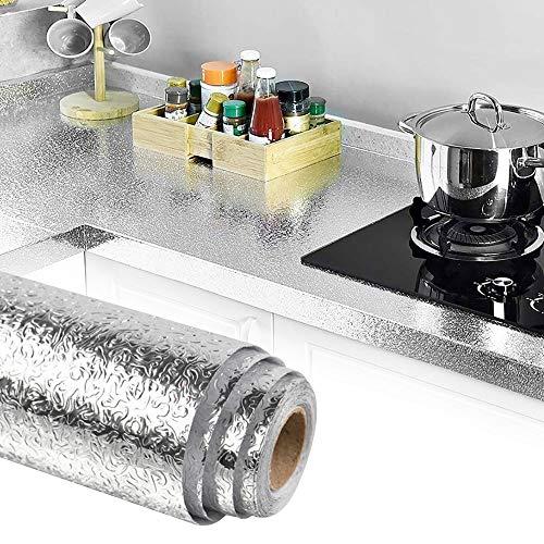 TANCUDER Küche Aluminiumfolie 40 * 500cm Aluminium Folie Aufkleber Wasserdicht Küchentapete Hitzebeständige Klebefolie Selbstklebend Küchenfolie Ölbeständiges Küchentapete für Küchenschränke, Wände