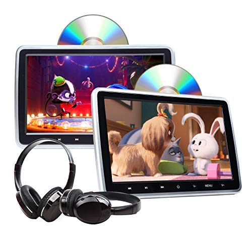2021 Newest Headrest DVD Player 10.1 Inch DVD Player Universal Vehicle Headrest Monitor Portable DVD Player for Kids Dual Screen Headrest DVD Player Digital Touch Button HDMI-C1100A