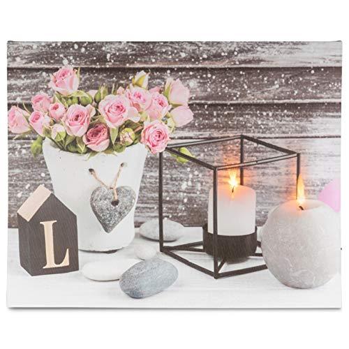 Nexos LED Wandbild Leinwandbild mit Beleuchtung Fotodruck Love 40 x 50 cm Kunstdruck Leuchtbild Landhaus Vintage-Stil flackernde Kerzen Shabby Chick Hütte