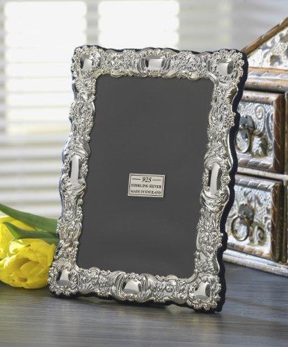Cadre photo décoratif, fine, en argent sterling 925. Hallmark 925. Design floral. Cadeau de luxe. Livré avec boîte de présentation. 3 tailles., 25,4 x 20,3 cm