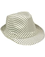 SILVERFEVER Banded Stripe Fedora Pinstripe Thin Brim Trbly Hat Ganster Gatsby Costume Hats Beige