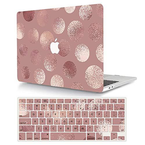 ACJYX Hülle für MacBook Air 13 Zoll 2020 2019 2018 Freisetzung A2179/A1932, Plastik Hartschale Schutzhülle Hülle & Tastaturschutz für Neuen Mac Air 13 Zoll Touch ID - Rosa Kreis