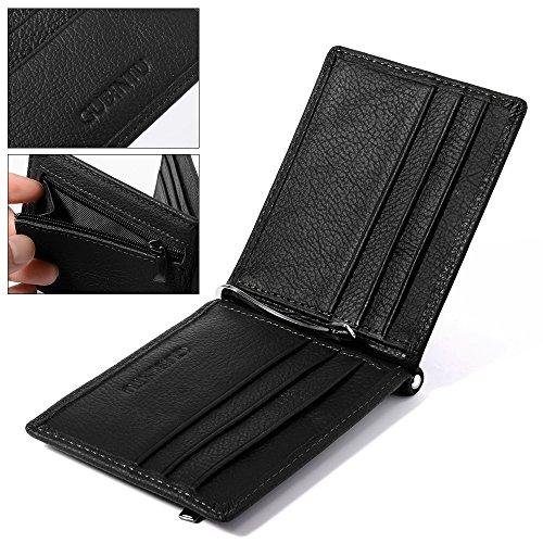 XCSOURCE Raccoglitore degli Uomini Pelle Slim Bifold Portafoglio Nero con 6 Posizioni per Carte + Nota Pocket Money Clip + MT251