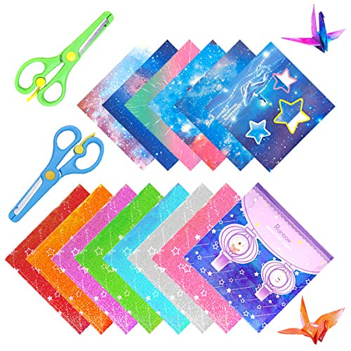 Niños Color Kit de Origami,Hojas de Doble Cara Papel de Origami Hecho a Mano,Doble Cara Papel para Papiroflexia de Colores,Papel Cuadrado Para Origami, para Proyectos de Artes y Oficios (Rosado)