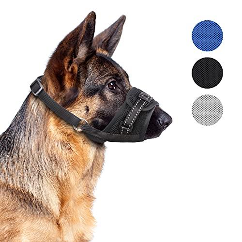 Supet Maulkorb für Hunde Verstellbarer Maulkörbe mit reflektierenden atmungsaktiven Maulkorb aus weichem Nylon Verhindert Das Beißen Bellen Trainingsmaulkorb für kleine mittlere und große Hunde