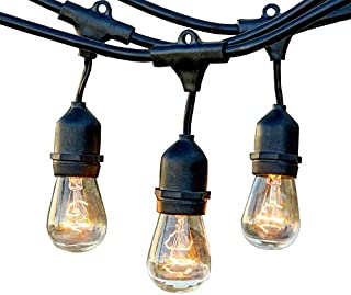 49Ft Waterproof Outdoor String Lights with Hanging Sockets Edison Vintage Bistro Strand for Patio Garden Porch Backyard Pa...