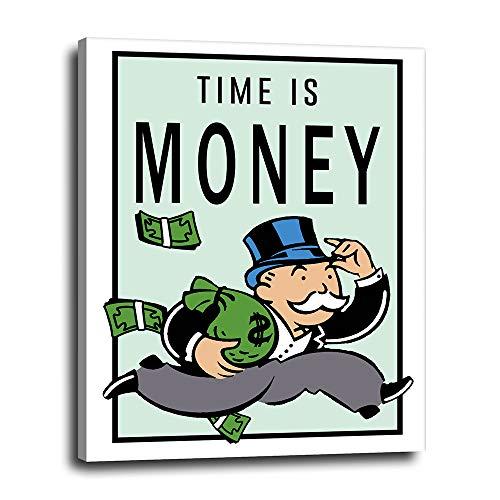 Monopoly Man Motivational Wall Art Decor - Time is Money - Inspirational Office Decor, Decoration, Poster, Print - Growth Mindset Gift for Entrepreneur, Business Owner, Money Maker - Canvas Art 16x20