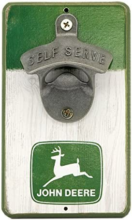 John Deere Green and White Rustic MDF Wood Wall Art Sign with Cast Metal Bottle Opener an Officially product image