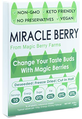 Miracle Berries, 10 Berry Halves, Grown in the USA by Miracle Berry and Magic Berry Farms, Naturally Sweetens Sour Food, 100% Freeze-dried Premium Miracle Fruits, No Preservatives
