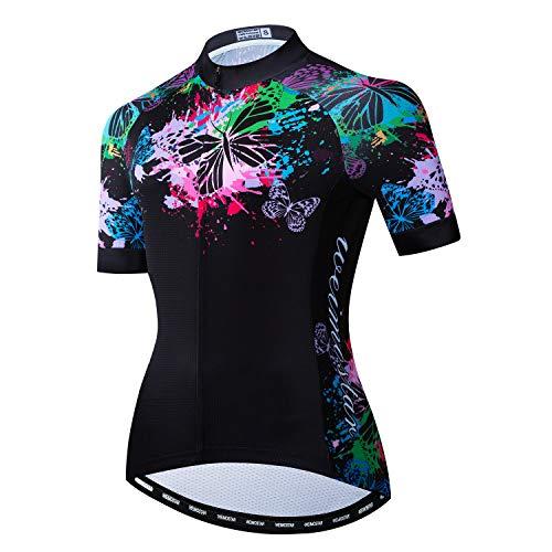 Ciclismo Jersey Donne Manica Corta Bike Bike Bike Camicie Full Zip Bicicletta Top Ciclismo Vestiti con 3 Tasche