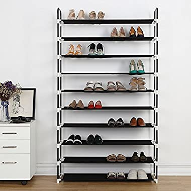 Housen Solutions 10 Tier Shoe Rack 50 Pairs Plastic Shoe Shelf Stand Organizer with Non-Woven Fabric, Black