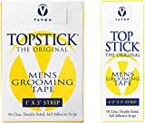 Topstick Men's Clear Double Sided Grooming Tape Bundle - (1 Box of 50 Strips) 1' x 3' & (1 Box of 50 Strips) 1/2' x 3'