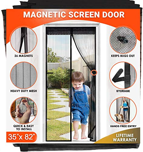 AIFENTE Magnetic Door Screens with 26 Magnets Heavy Duty Magnet Mesh Door Screen with Magnets Screen Doors Fits Doors up to 35 X 82 Inches