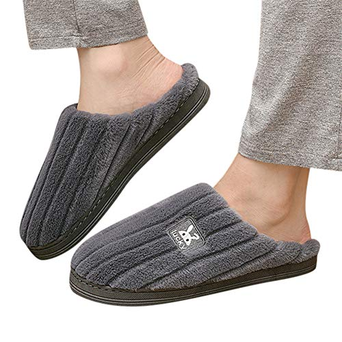 Gibobby Slippers for Women Memory Foam Bootie Womens Animal Heads Sherpa Plush Fleece Lined Slipper Socks Dark Grey