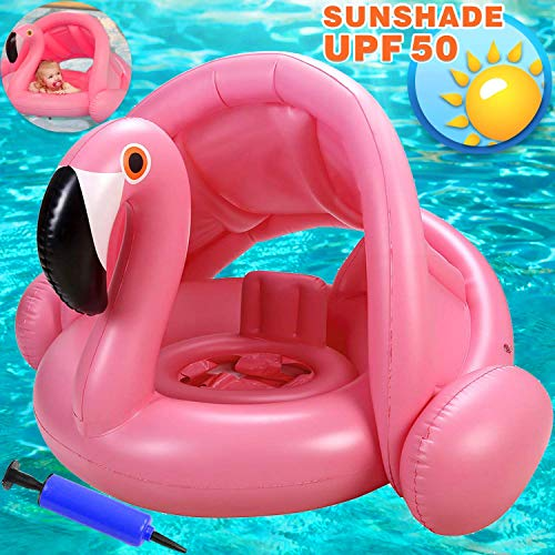 Flamingo Baby Swimming Ring with CanopyInflatable Baby Swimming Pool Float Sunshade for Infant Kids Boys Girls Toddlers Age 848 Months Up to 40Lbs Summer Outdoor Beach Water Bath Toys