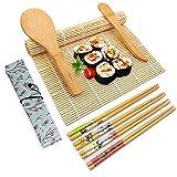 Sushi Kit, 10 Pezzi Set Preparazione Sushi Completo, Set Sushi in bambù, Sushi Kit Include 2 Tappetini in bambù, 5 Paia di Bacchette, 1 Spatola per Riso, 1 Coltello, 1 Sacco