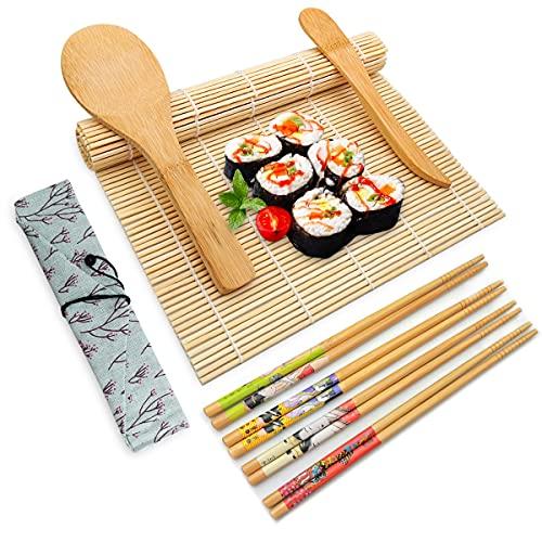 Juego de Sushi, Kit para Hacer Sushi10 Pcs, Esterilla de Enrollar Sushi, 5 Pares de Palillos con Bolsita, 2 Esterillas, Paleta de Arroz, Esparcidor de Arroz
